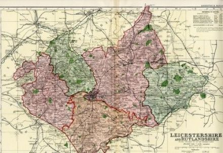 1896 Antique Map LEICESTERSHIRE and RUTLANDSHIRE County HOUSES Farms RAILWAYS Large Very Detailed